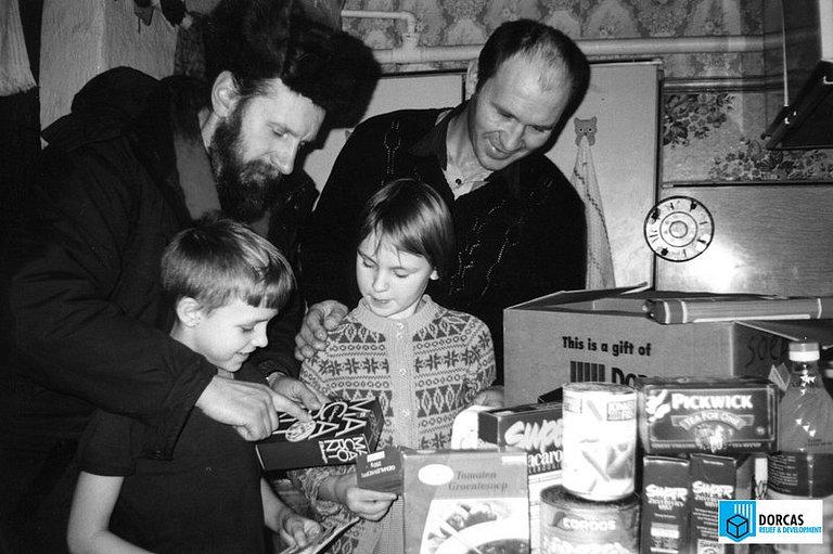 Семья из Владимирской области получила набор продуктов, 1990-е